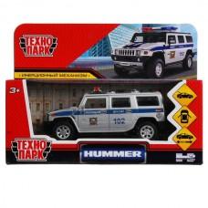 """Машина металл """"hummer h2 полиция"""" 12см, откр.двери, инерц, серебристый в кор. Технопарк в кор.2*36шт"""