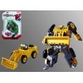 Робот-трактор с ковшом, трансформер из металла, блистер 15*4*23 см.