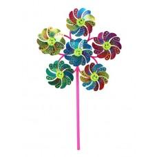 Ветерок,палочка30см+ 6 цветков по 10.5см, окрас как павлиний хвост, смайлик, микс, в наборе 12шт