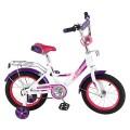 "14"" Велосипед MUSTANG A-тип,багаж.,страх.кол.,звонок (бел/фиолет)"