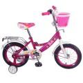 """14"""" Велосипед BARBIE A-тип, пер.корз.багаж., страх.кол.,звонок,бутил.(роз/бел)"""