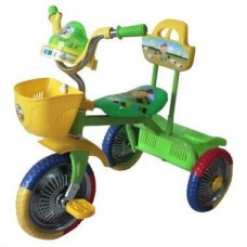 """Велосипед 3-х колесный б/ручки,свет,звук d колес10"""" и 8"""" зеленый GM"""